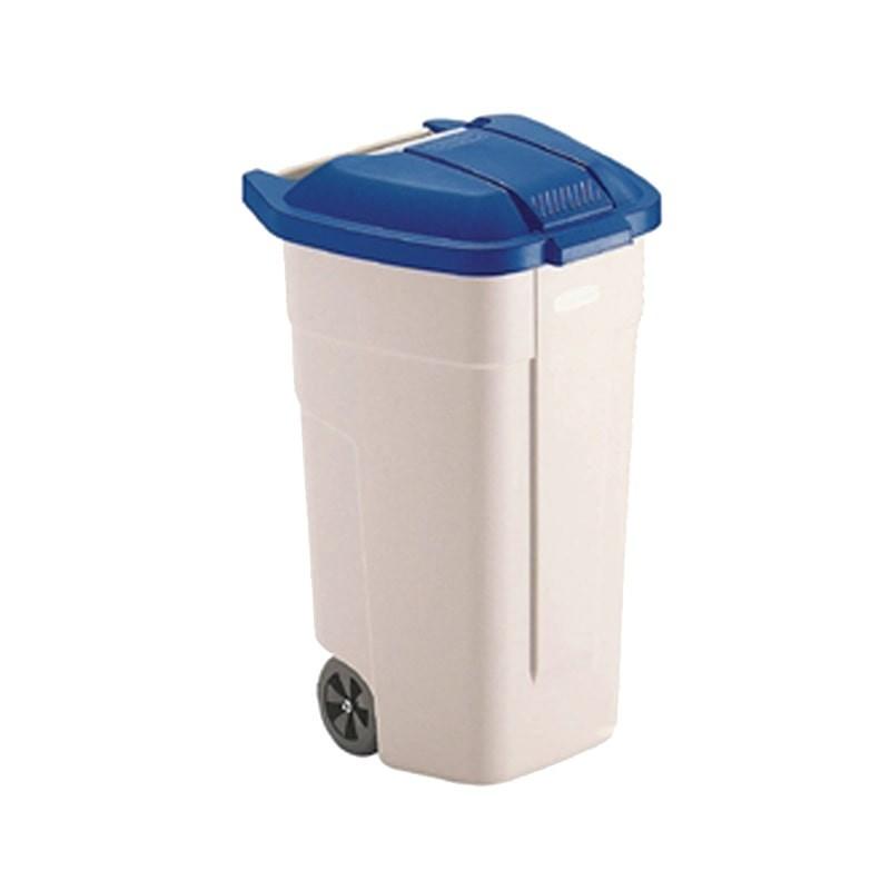 Contenedor reciclaje ruedas azul cartón