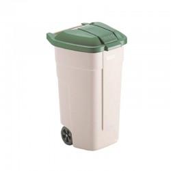 Contenedor reciclaje ruedas verde vidrio